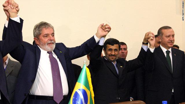 Brazilian President Luiz Inacio Lula da Silva, Iranian President Mahmoud Ahmadinejad and Turkish Prime Minister Recep Tayyip Erdogan broker a nuclear deal.