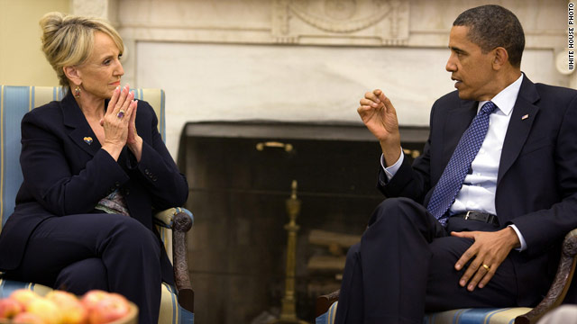 Arizona Gov. Jan Brewer and President Obama meet at the White House.