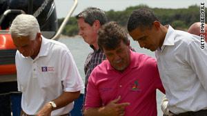 Grand Isle, Louisiana, Mayor David Camardelle speaks with President Obama last week.
