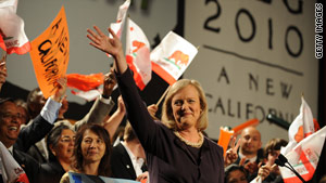 Former eBay CEO Meg Whitman defeated state Insurance Commissioner Steve Poizner for the GOP gubernatorial nomination.