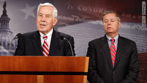 Republican Sens. Richard Lugar, left, and Lindsey Graham, discuss Lugar's new energy and climate plan.