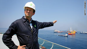 BP CEO Tony Hayward takes a look at the recovery operations 55 miles south of Venice, Louisiana.