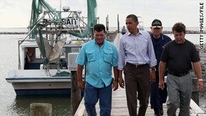President Obama visits Grand Isle, Louisiana, on June 4.  He'll make another visit to the Gulf on Monday.