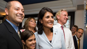 Nikki Haley watched election returns Tuesday with family and friends at a Columbia, South Carolina, hotel.