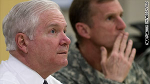Defense Secretary Robert Gates, left, and Gen. Stanley McChrystal confer in Kabul, Afghanistan, in March.