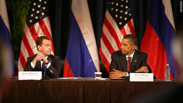U.S. President Barack Obama and Russian President Dmitry Medvedev (left) during a business summit at the U.S. Chamber of Commerce on Thursday in Washington, DC.