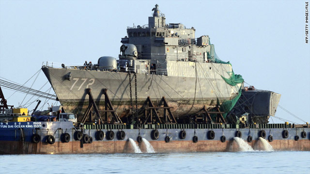 North Korea denies any responsibility in the sinking of the Cheonan. The South Korean ship's salvaged bow is pictured in April.
