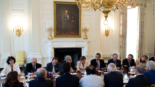 President Obama meets with members of the Congressional Hispanic Caucus at the White House on June 29.