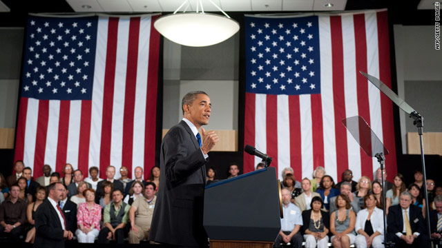 Obama addresses an audience at the University of Nevada in Las Vegas.