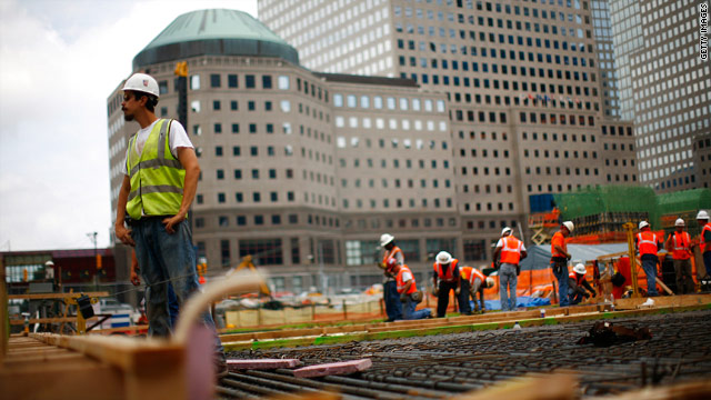 Workers continue construction on the World Trade Center site in July 15, 2010 New York City.
