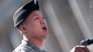 Lt. Dan Choi, here speaking at a March rally in Washington, says he was honorably discharged from the Army.