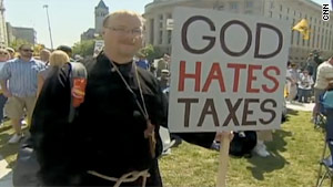 An activist attends a Tea Party Express rally in Washington in April 2010.