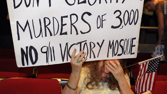 "A protester in  New York expresses opposition to plans for a mosque near ""Ground Zero."""