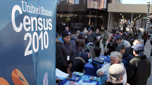 Census Bureau workers raise awareness about the census count earlier this year in Brooklyn, New York.