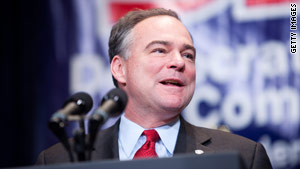 Democratic National Committee Chairman Tim Kaine says Democrats will continue to highlight their role in Social Security.