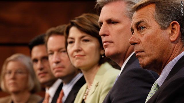 "Members of the Republican House leadership introduce the party's ""America Speaking Out"" campaign in May. House Minority Leader John Boehner of Ohio is at far right."