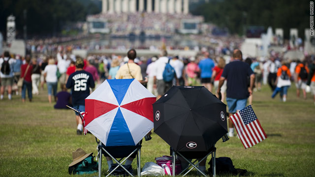 "People flocked to the National Mall to hear conservative commentator Glenn Beck speak at his ""Restoring Honor"" rally."