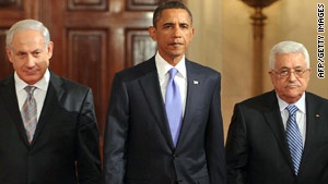 Israeli Prime Minister Benjamin Netanyahu, President Obama and Palestinian leader Mahmoud Abbas at the White House.