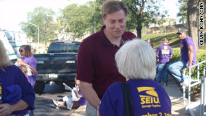 Rep. Jason Altmire, D-Pennsylvania, greets union members in Pittsburgh on Labor Day.