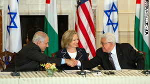 Hillary Clinton, shown with Benjamin Netanyahu, left, and Mahmoud  Abbas in Washington this month, will be in the Mideast this week.