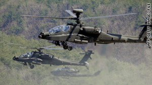 The proposed package includes 70 Apache helicopters.