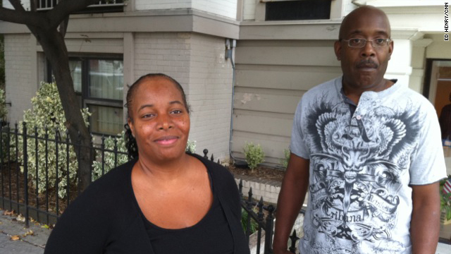CNN spoke with Alisa Mathis and Brian Powell, both of working age but can't find jobs. They live blocks from the White House.