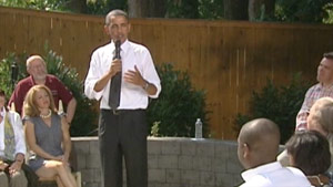 President Obama discusses health care Wednesday at a home in Falls Church, Virginia.