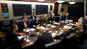 President Obama, left, meets with advisers in the Situation Room at the White House last year.