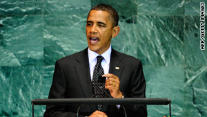 President Obama addresses world leaders at the U.N. on Thursday.
