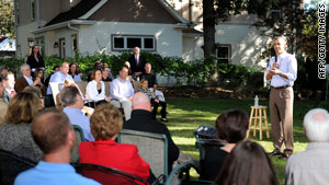 President Obama held an event Wednesday in Sandy and Jeff Clubb's backyard in Des Moines, Iowa.