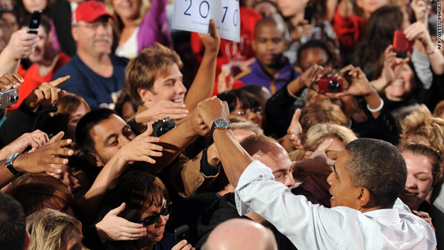 President Obama shakes hands with supporters after a speech at the University of Wisconsin in Madison on Tuesday.