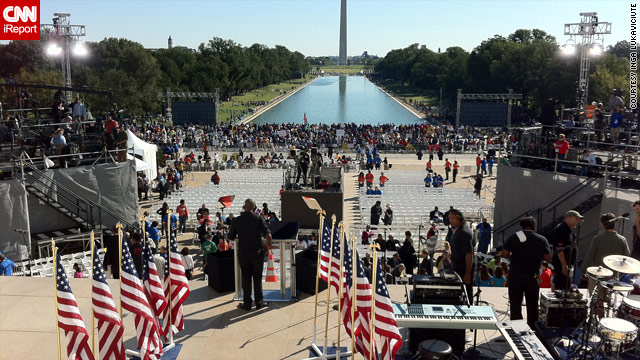 "People gather Saturday morning near the Lincoln Memorial in Washington for the ""One Nation Working Together"" rally."