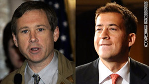 Republican Rep. Mark Kirk [left] and Democrat Alexi Giannoulias are after Obama's Senate seat.