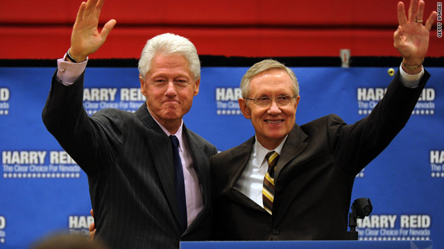 Former President Bill Clinton defended Nevada Sen. Harry Reid on Tuesday as the four-term senator is in a tight campaign race.