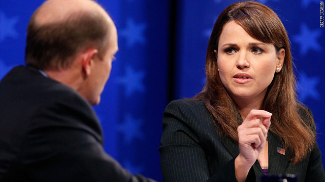Republican Christine O'Donnell and Democrat Chris Coons face off in a debate Wednesday.