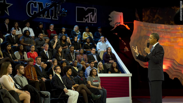 President Obama particpated in a youth town hall Thursday, seen on the Viacom networks MTV/CMT/BET.
