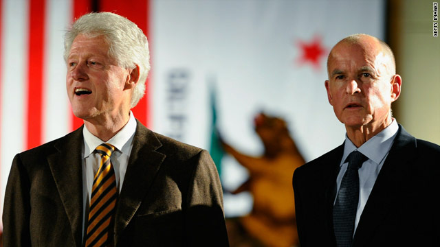 Once bitter political rivals, former President Bill Clinton and California gubernatorial nominee Jerry Brown were on the same stage Friday to rally voters.