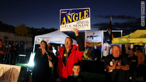 Tea Party supporters attend a rally Monday evening in Elko, Nevada, for the start of the Tea Party Express national tour.