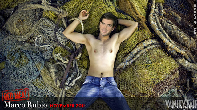 "Marco Rubio, the Republican vying to become Florida's next senator, is Mr. November in Vanity Fair's ""Red Meat"" calendar. (Photo illustration by Hamish Robertson, exclusively for VF.com)"