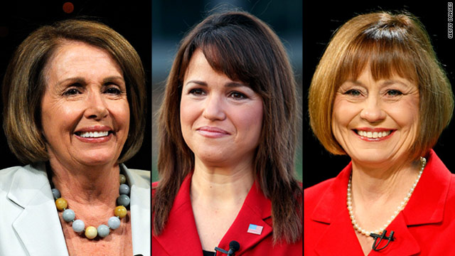 Rep. Nancy Pelosi and Senate candidates Christine O'Donnell and Sharron Angle are among the female candidates this year.