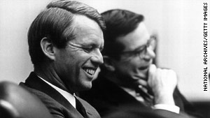 Theodore C. Sorensen (right) was a close adviser to President John F. Kennedy. He's seen here in April 1968 with Robert Kennedy just a couple of months before RFK's death.