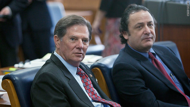 Former House Majority Leader Tom DeLay, left, sits in an Austin, Texas, courtroom last week during jury selection.