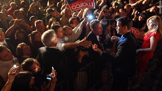 Florida Senate-elect Marco Rubio celebrates his win for the Republican party after Tuesday's midterm election.