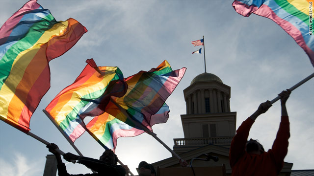 Gay, lesbian and transgender activists react to the Iowa Supreme Court's decision in April 2009 to make same-sex marriage legal.