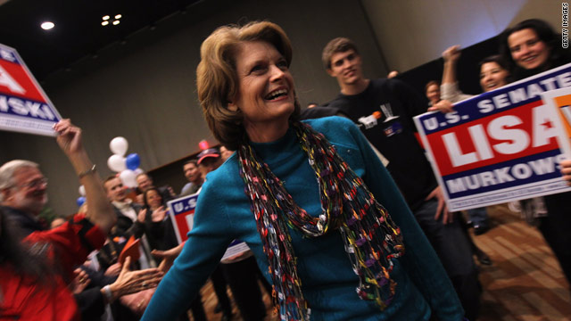 Sen. Lisa Murkowski thanks supporters Tuesday in Anchorage. It's unclear if she will be heading back to Washington next year.