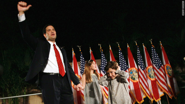 Tea Party favorite Marco Rubio celebrates winning a U.S. Senate seat in Coral Gables, Florida, on Tuesday.