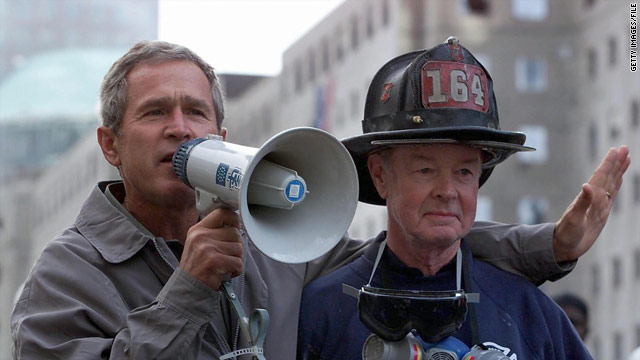 Bush with bullhorn and New York firefighter Bob Beckwith. The 9/11 attacks made his presidency's purpose clear, he writes.