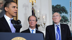 President Obama named Erskine Bowles, center, and Alan Simpson co-chairmen of the commission earlier this year.