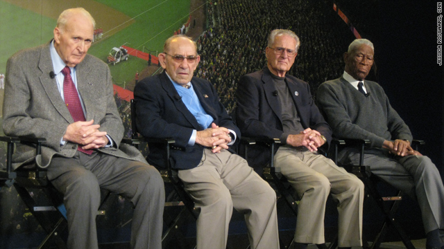 "Former Major League Baseball players Lou Brissie, Yogi Berra, Jerry Coleman and John ""Mule"" Miles gather in Washington."