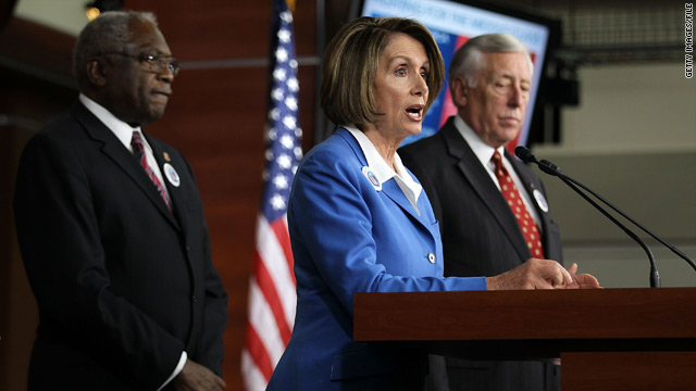 "Nancy Pelosi will be minority leader, Rep. Steny Hoyer (right) minority whip and Jim Clyburn (left) ""assistant leader."""